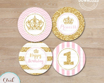 Pink and Gold Princess Cupcake toppers, Gold Glittler Cake, 1st birthday, first, Party Circles, Party Decorations,Printable Instant download