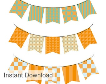 Digital Bunting orange and Blue Flags High res clip art Flag digital embellishments commercial and personal use digital elements