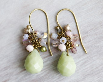 Pastel Green Agate Stone Cluster Earrings, Swarovski Pearl, Czech Glass, Brass Cluster Earrings