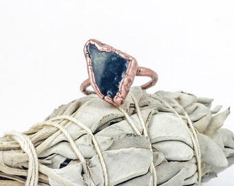 Seraphinite Ring | Engagement Ring | Metaphysical Jewelry |  Electroformed Ring | Raw Stone Ring | Crystal Healing