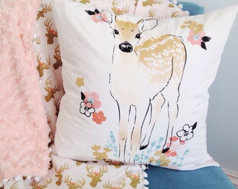 Fawn cover pillow case decorative cushion stag pink fawn baby nursery girl's bedroom