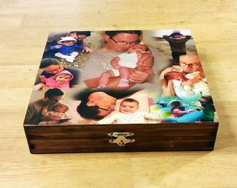 Custom Photo Collage Keepsake Box, Photo Collage Box, Photo Keepsake Box, Photo Collage Keepsake Box, Photo Collage, Customized Photo Box