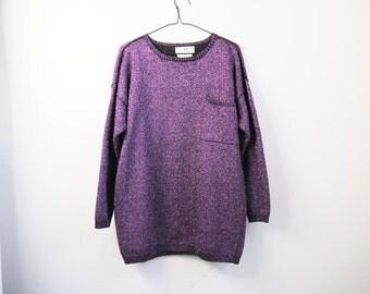 80s Metallic Purple Oversized Sweater, Vintage Sparkly Purple Knit Tunic Pullover