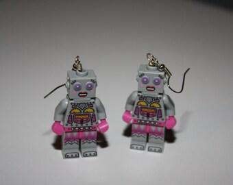 Lego robot earrings, Lego jewelry