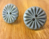 Eco upcycled earrings made from vintage grey sunburst buttons, classic casual earrings with a twist