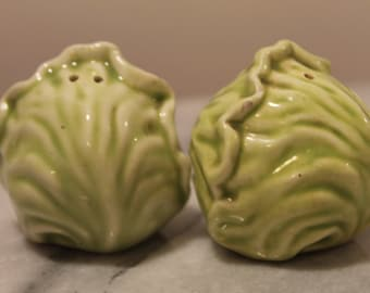 Vintage Ceramic Lettuce Salt and Pepper Shakers /Cabbage Salt and Pepper Shakers