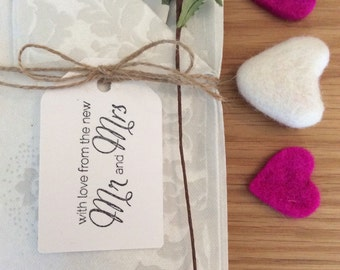 "Wedding Place Cards / Tags - ""with love from the new Mr & Mrs"""