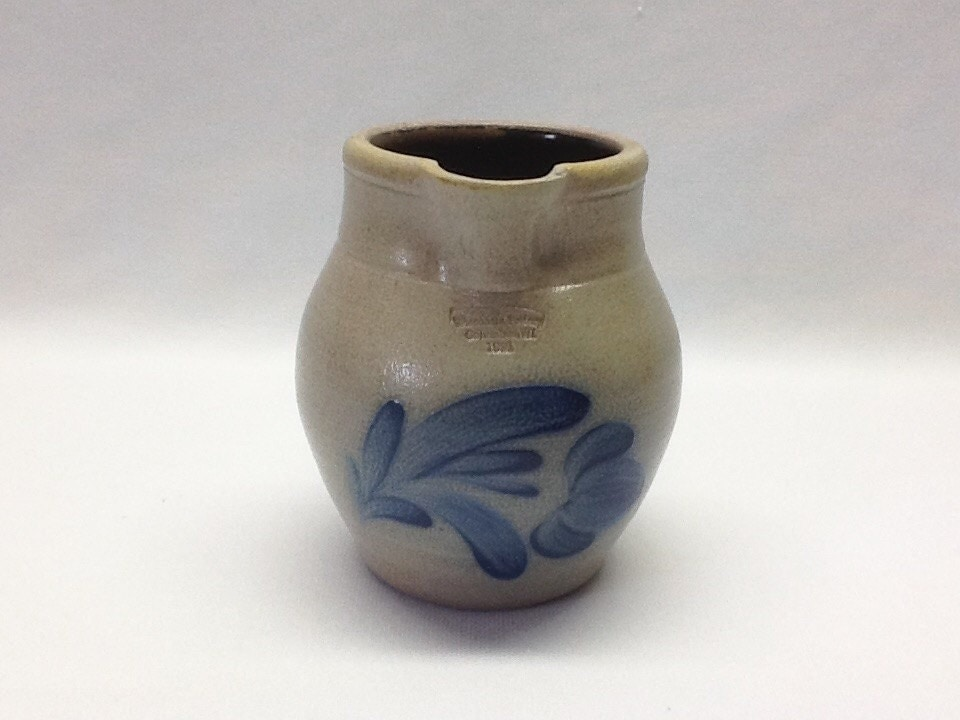 1991 Wisconsin Salt Glazed Pottery Pitcher Cobalt Blue