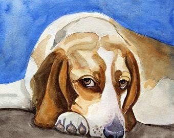 beagle original watercolor painting beagle painting dog portrait 25x25cm (10x10inch)
