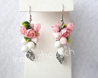 Rose Flower bunches earrings