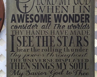 """Custom Painted 16""""x20"""" Wooden Sign ~ """"How Great Thou Art"""""""