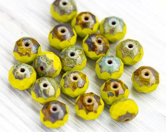 Chartreuse Green Picasso Beads, Czech Glass Beads, Fire polished Faceted Donut Beads, Rondelle Beads, 6 x 9 mm, 10 Pc, CB100