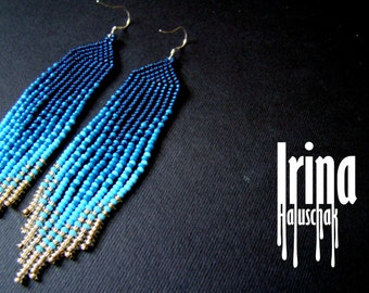 Blue Beaded earrings, seed bead earrings, modern earrings, boho, fringe earrings, beadwork, gradation from blue to light gold Chevron