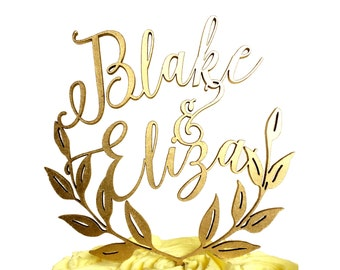 Laurel Leaf Wreath Name Cake Topper, Custom Cake Topper