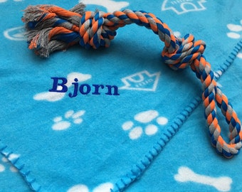 Personalised Dog Blanket and Chew Toy