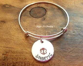 Medical Alert ID Bangle, Hand Stamped Medical Bracelet, Allergy Bracelet, ID Bracelet, Medical Alert Bracelet, Life Alert Bracelet For Her
