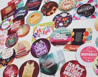 Happy Birthday sticker set, Birthday Planner sticker set/ Snail Mail stickers
