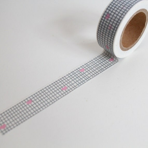 Grey geometric grid washi tape heart planner deco gray check for Geometric washi tape designs