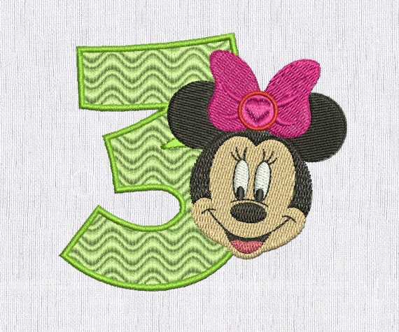 Minnie mouse embroidery rd birthday machine design