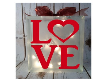 home decor - Love lighted 6x6 glass block, valentines day gift, sweetheart gift, nightlight, personalized glass blocks heart gift for her