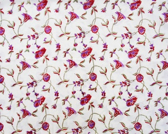 Red Leaf Print Fabric, Cotton Fabric, Printed Cotton, Hand Block Print Fabric, Cotton Fabric by the yard, Indian Fabric,Block Printed Fabric