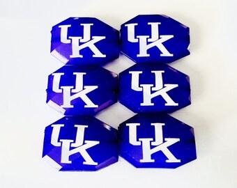 University of kentucky beads UK logo jewelry  - blue white Large bead translucent Faceted Acrylic bead - bulk
