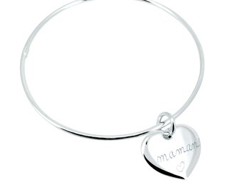 Bangle Bracelet with a heart personalized for MOM, sister, friend...