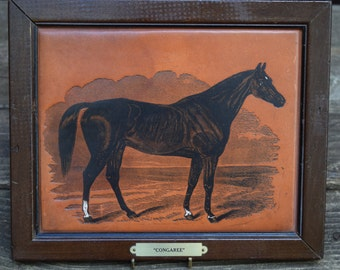 Vintage Leather Engraved Congaree Horse/Equestrian Framed Picture