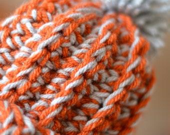crochet chunky ribbed beanie with pompom
