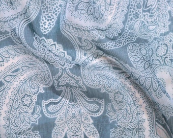 SALE! Roberto Cavalli authentic, paisley print, 100% pure silk crepe chiffon fabric. Aquamarine color. Made in Italy. 1.40 x 1.35 m.