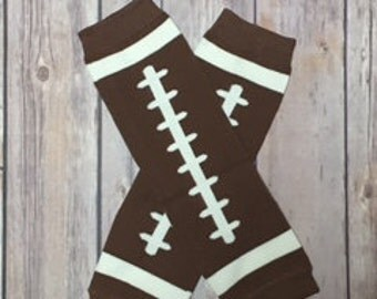 Football Leg Warmer for Baby Girl ~ ESPN ~ Brown and White