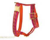 Designer dog harness IBIZA - designer harness with pink pattern - matching leash available