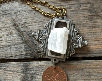 Selenite and Hardware Necklace
