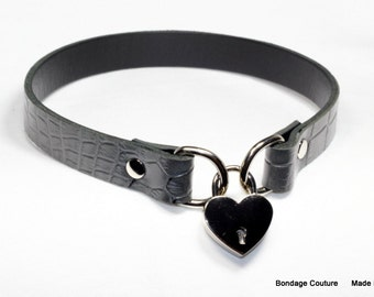 "Grey Leather 3/4"" Leather BDSM Lockable Slave Sub Collar with small heart shaped padlock, PetPlay Choker"