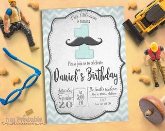 Moustache Birthday Invitation / Printable