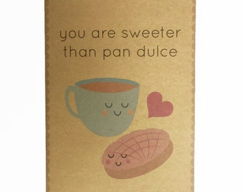 Concha and chocolate Pan Dulce Valentine Greeting Card Birthday Best Friend