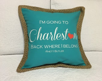 I'm going to Charleston Pillow - Teal