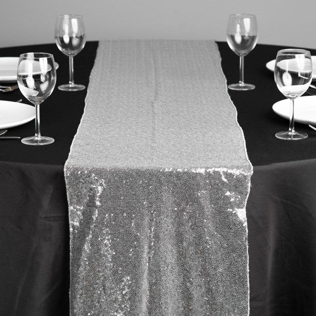 15 x 120 silver table runners sparkly table by weddingbyshane. Black Bedroom Furniture Sets. Home Design Ideas