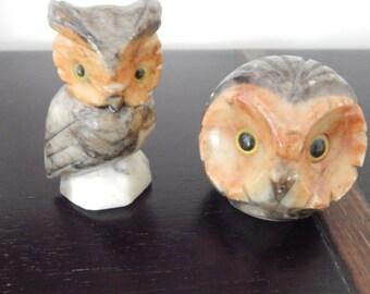Italy Alabaster Owl Figurine - Set of 2
