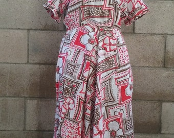 Home Crafted 1960s Linen Day Dress