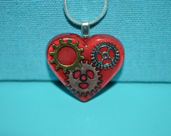 Steampunk Gears and Cogs Red Heart Necklace, Resin Jewelry