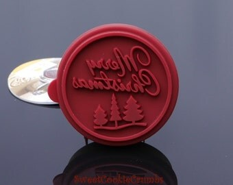 Merry Christmas Cookie Stamp - Wooden Handle with Silicone - USA FREE Shipping