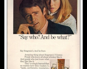"""Vintage Print Ad October 1969 : Seagram's V.O. Crown Whiskey Sexy Girl Wall Art Decor 8.5"""" x 11"""" Advertisement"""