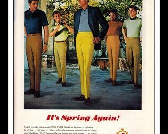 "Vintage Print Ad May 1969 : Jaymar Slacks  ""Its Spring Again!"" Advertisement Wall Art Decor 8.5"" x 11"""