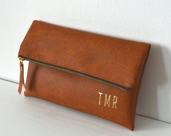Foldover monogrammed clutch purse, Bridesmaid gift, Wedding accessory, Cognac brown clutch bag