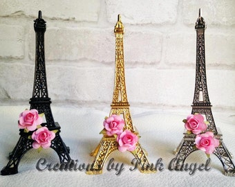 "6"" Eiffel Tower Cake Topper, Paris Diaper Cake Topper, Gold Paris Topper, Silver Eiffel Tower Topper, Black Paris Cake Topper"