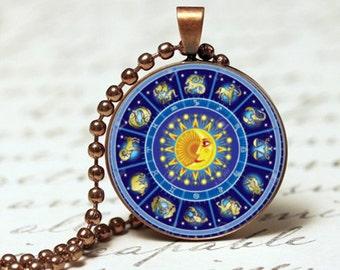 Horoscope chart pendant necklace, Horoscope wheel pendant necklace