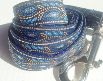 Stylish Blue and Silver Dog Leash for Petite Dogs.