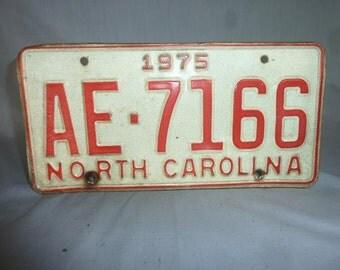 Vintage 1975 North Carolina License Plate