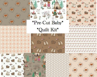 Baby Quilt Kit, Woodland Nursery, Quilting Cotton, Pre-cut Squares, Camelot, Wilderness, Fox, Teepees, Bunny, Brown, Rustic, Forest Critter